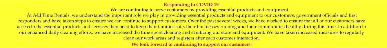 A&J Time Rentals - Equipment Rental Denver - Responding to COVID